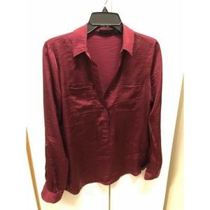 The Limited L Burgundy Blouse Pullover SMALL